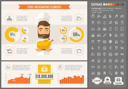 modern: Food infographic template and elements. The template includes illustrations of hipster men and huge awesome set of thin line icons. Modern minimalistic flat vector design. Illustration