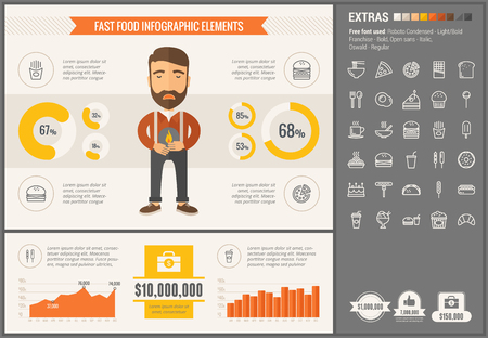 visualize: Fast food infographic template and elements. The template includes illustrations of hipster men and huge awesome set of thin line icons. Modern minimalistic flat vector design.