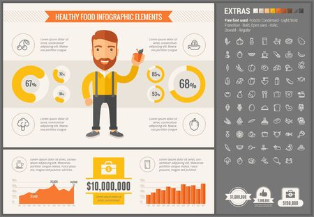 plate of food: Healthy Food infographic template and elements. The template includes illustrations of hipster men and huge awesome set of thin line icons. Modern minimalistic flat vector design.