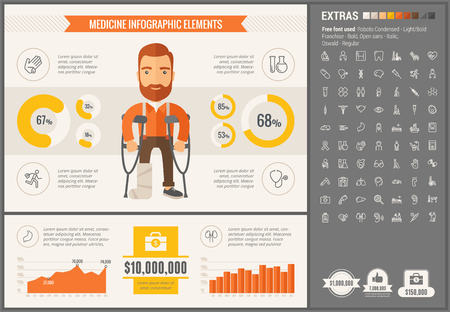 medicine man: Medicine infographic template and elements. The template includes illustrations of hipster men and huge awesome set of thin line icons. Modern minimalistic flat vector design.
