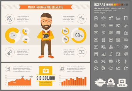 visualize: Media infographic template and elements. The template includes illustrations of hipster men and huge awesome set of thin line icons. Modern minimalistic flat vector design. Illustration