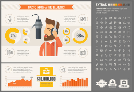 musical instrument: Music infographic template and elements. The template includes illustrations of hipster men and huge awesome set of thin line icons. Modern minimalistic flat vector design.