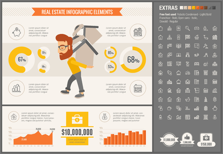 Real Estate infographic template and elements. The template includes illustrations of hipster men and huge awesome set of thin line icons. Modern minimalistic flat vector design.  イラスト・ベクター素材