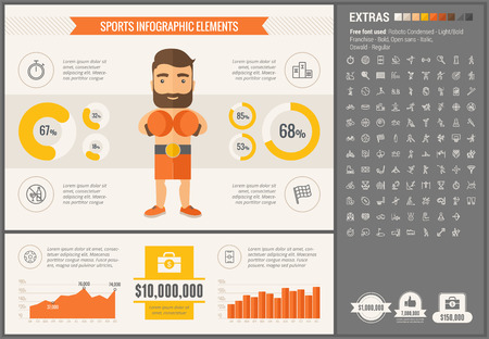 Sports infographic template and elements. The template includes illustrations of hipster men and huge awesome set of thin line icons. Modern minimalistic flat vector design.