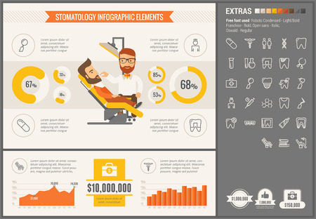 a dentist: Stomatology infographic template and elements. The template includes illustrations of hipster men and huge awesome set of thin line icons. Modern minimalistic flat vector design. Illustration