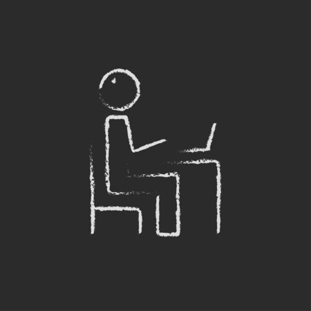 connectivity: Businessman working at his laptop hand drawn in chalk on a blackboard vector white icon isolated on a black background.