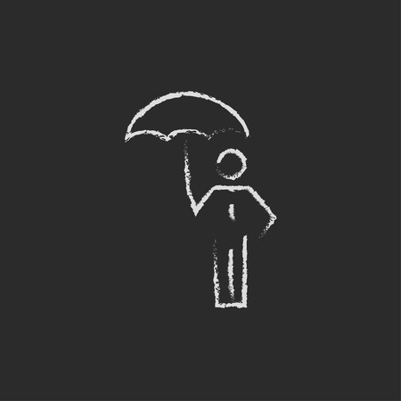 sheltering: Businessman with umbrella hand drawn in chalk on a blackboard vector white icon isolated on a black background.