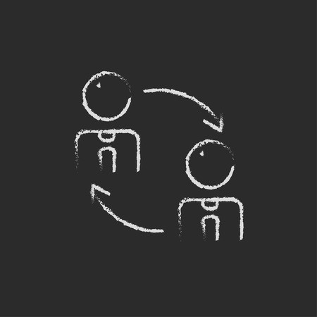 turnover: Staff turnover hand drawn in chalk on a blackboard vector white icon isolated on a black background.