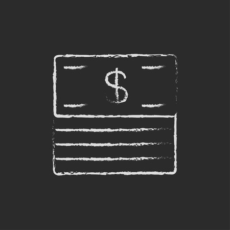 greenbacks: Stack of dollar bills hand drawn in chalk on a blackboard vector white icon isolated on a black background.