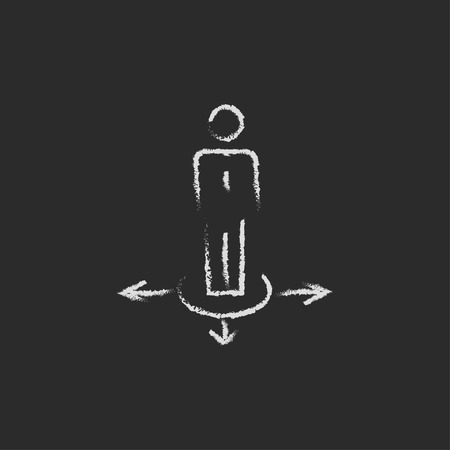 hesitate: Businessman in three ways hand drawn in chalk on a blackboard vector white icon isolated on a black background.