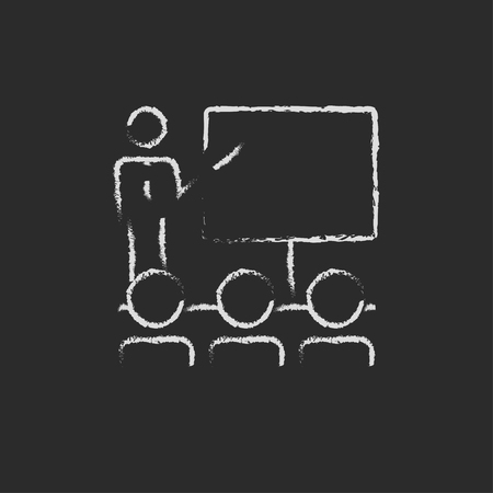 presentation people: Business presentation hand drawn in chalk on a blackboard vector white icon isolated on a black background.