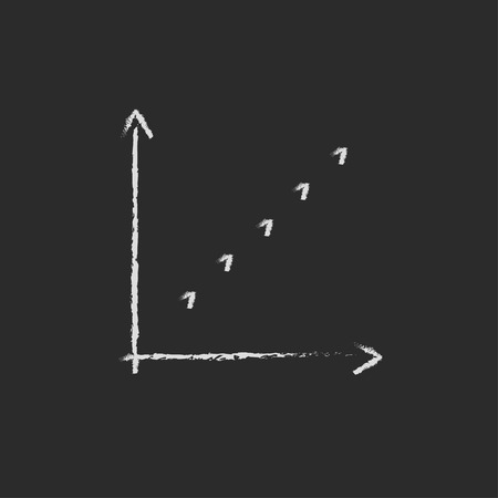 discontinuous: Growth graph hand drawn in chalk on a blackboard vector white icon isolated on a black background.