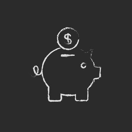 Spaarvarken en dollar munt met de hand getekend met krijt op een schoolbord vector wit pictogram geïsoleerd op een zwarte achtergrond.