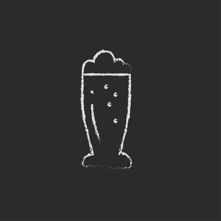 black background: Glass of beer hand drawn in chalk on a blackboard vector white icon isolated on a black background.