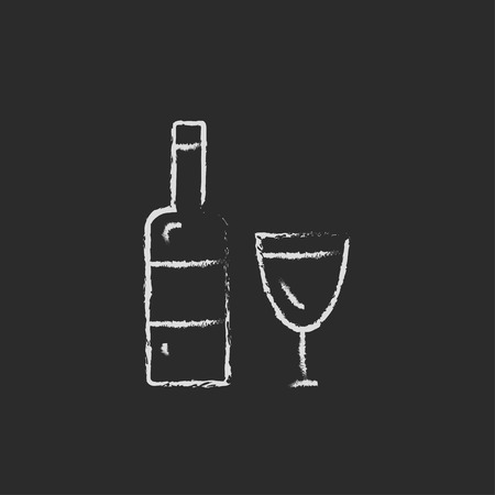 scotch: A bottle and a glass hand drawn in chalk on a blackboard vector white icon isolated on a black background. Illustration