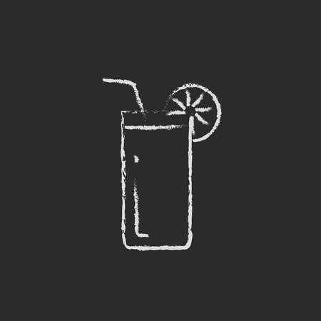 Glass with drinking straw hand drawn in chalk on a blackboard vector white icon isolated on a black background. Vettoriali