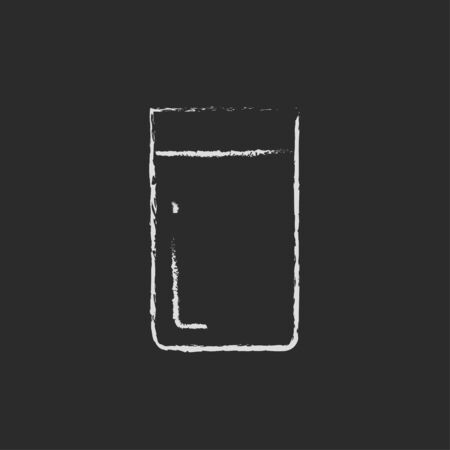 tumbler: Glass of water hand drawn in chalk on a blackboard vector white icon isolated on a black background.
