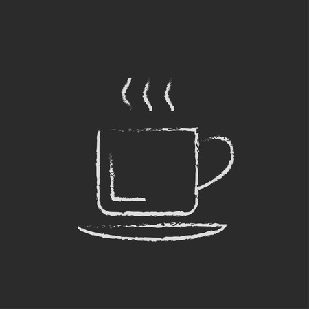 teaparty: Cup of hot drink hand drawn in chalk on a blackboard vector white icon isolated on a black background.