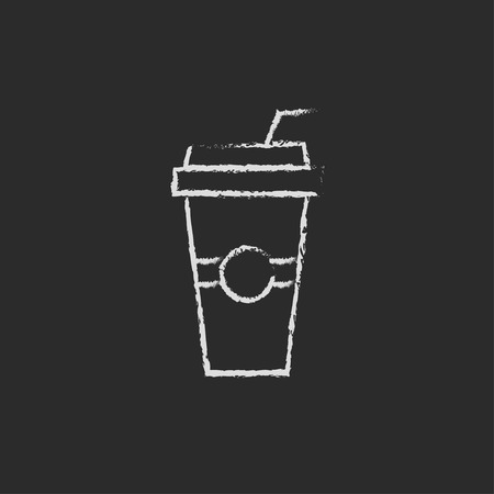 drinking straw: Disposable cup with drinking straw hand drawn in chalk on a blackboard vector white icon isolated on a black background.