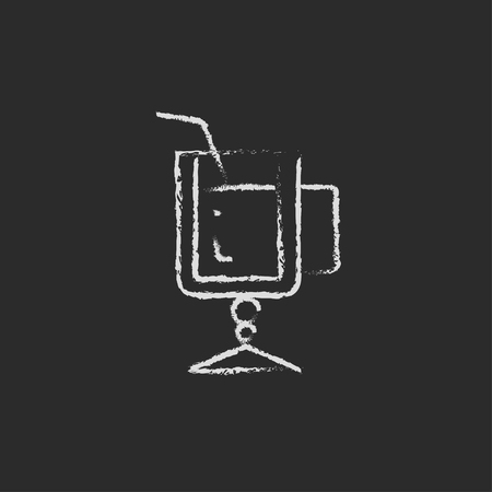 ice tea: Glass with drinking straw hand drawn in chalk on a blackboard vector white icon isolated on a black background. Illustration