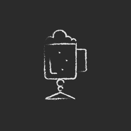 foam hand: Glass mug with foam hand drawn in chalk on a blackboard vector white icon isolated on a black background.