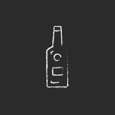 bourbon whisky: Glass bottle hand drawn in chalk on a blackboard vector white icon isolated on a black background.