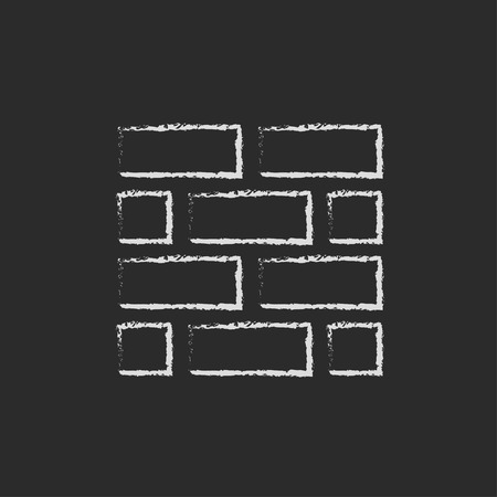 Bricks hand drawn in chalk on a blackboard vector white icon isolated on a black background.