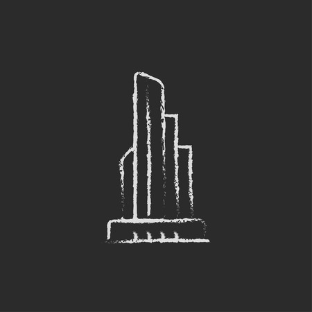 property management: Skyscraper office building hand drawn in chalk on a blackboard vector white icon isolated on a black background.
