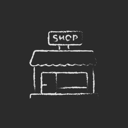 awnings: Shop store hand drawn in chalk on a blackboard vector white icon isolated on a black background.