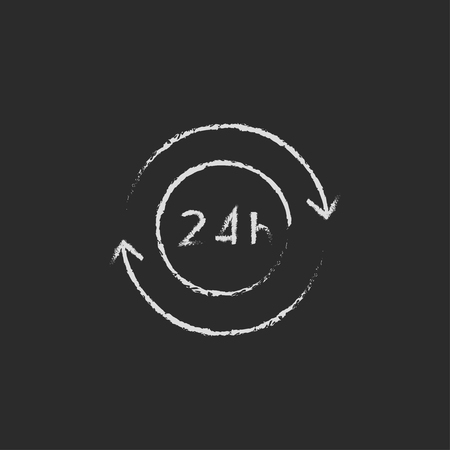 hrs: Service 24 hrs hand drawn in chalk on a blackboard vector white icon isolated on a black background.