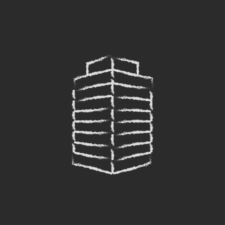 multi storey: Office building hand drawn in chalk on a blackboard vector white icon isolated on a black background.
