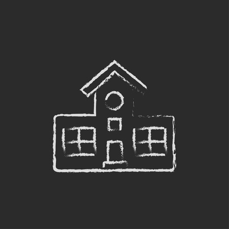 Building hand drawn in chalk on a blackboard vector white icon isolated on a black background.