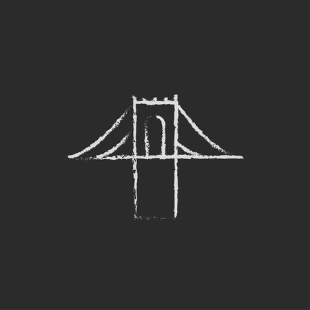 Bridge hand drawn in chalk on a blackboard vector white icon isolated on a black background. Illusztráció