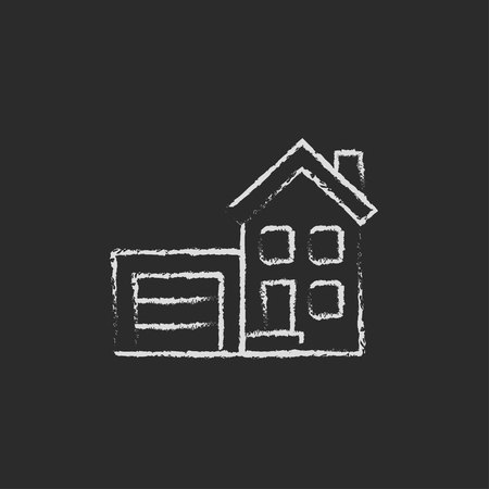automatic doors: House with garage hand drawn in chalk on a blackboard vector white icon isolated on a black background.