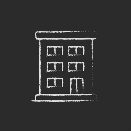 Residential building hand drawn in chalk on a blackboard vector white icon isolated on a black background. Illustration