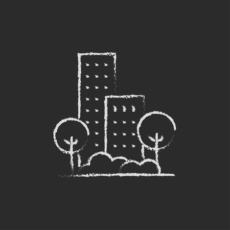 Residential building with trees hand drawn in chalk on a blackboard vector white icon isolated on a black background. Illustration
