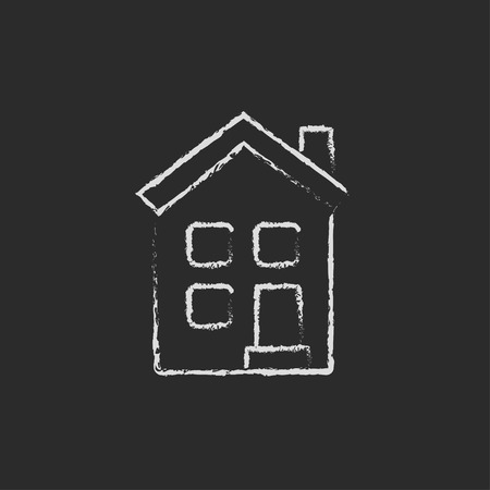detached: Two storey detached house hand drawn in chalk on a blackboard vector white icon isolated on a black background.