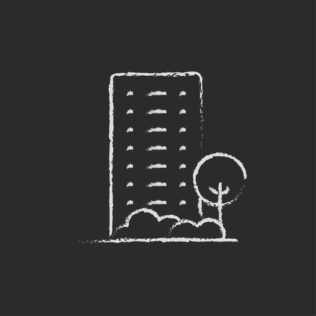 cemented: Residential building with trees hand drawn in chalk on a blackboard vector white icon isolated on a black background. Illustration