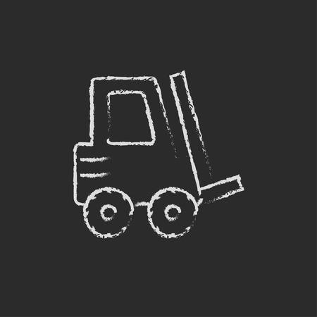 フォーク リフトの黒い背景に分離された黒板白ベクトル アイコンをチョークで手書き。