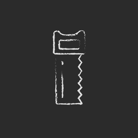 cut off saw: Saw hand drawn in chalk on a blackboard vector white icon isolated on a black background. Illustration