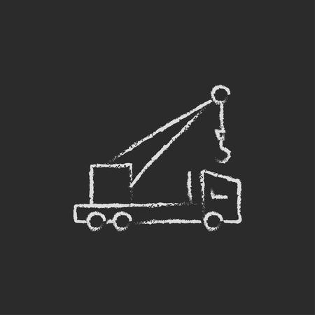 Mobiele kraan met de hand getekend met krijt op een schoolbord vector wit pictogram geïsoleerd op een zwarte achtergrond.