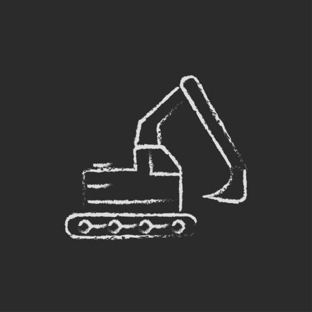 Excavator hand drawn in chalk on a blackboard vector white icon isolated on a black background.