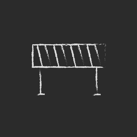 Road barrier hand drawn in chalk on a blackboard vector white icon isolated on a black background. Banco de Imagens - 45317996