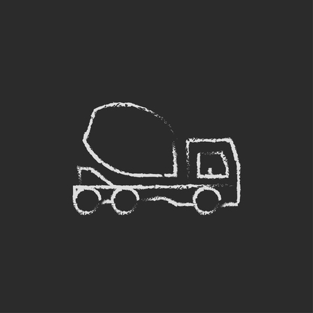 Concrete mixer truck hand drawn in chalk on a blackboard vector white icon isolated on a black background. Illusztráció