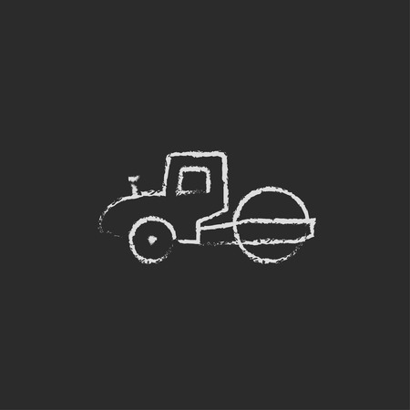 steamroller: Road roller hand drawn in chalk on a blackboard vector white icon isolated on a black background. Illustration