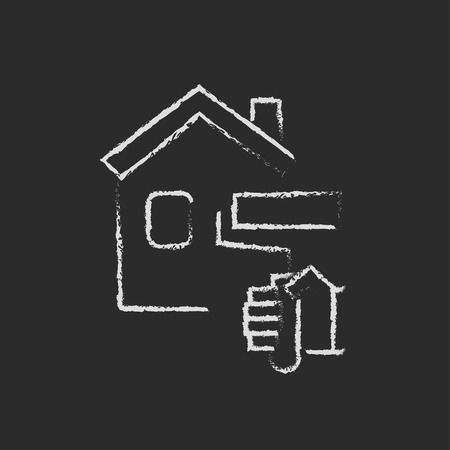 home icon: House painting shand drawn in chalk on a blackboard vector white icon isolated on a black background.