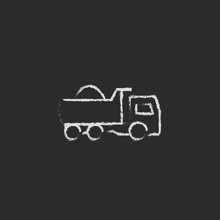 hand truck: Dump truck hand drawn in chalk on a blackboard vector white icon isolated on a black background.