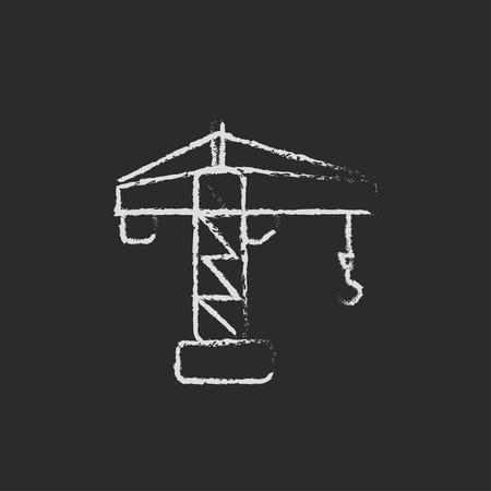 Crane machine de hand getekend met krijt op een schoolbord vector wit pictogram geïsoleerd op een zwarte achtergrond. Stock Illustratie
