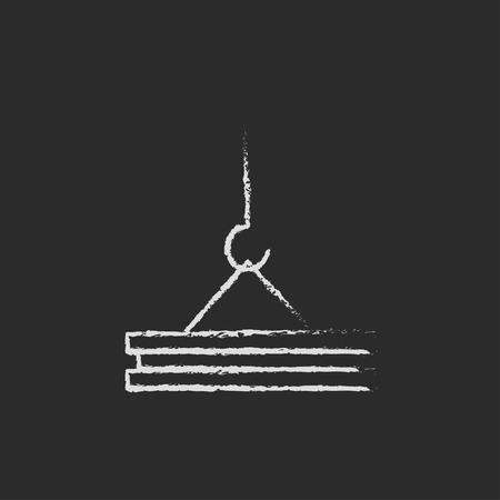 Kraanhand in krijt op een bord vector wit die pictogram wordt op een zwarte achtergrond wordt geïsoleerd getrokken die. Stock Illustratie