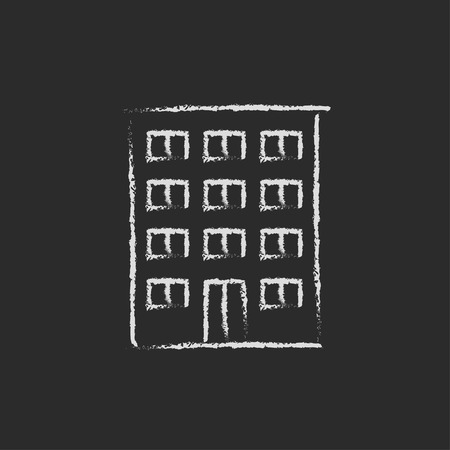 multi storey: Residential building hand drawn in chalk on a blackboard vector white icon isolated on a black background. Illustration